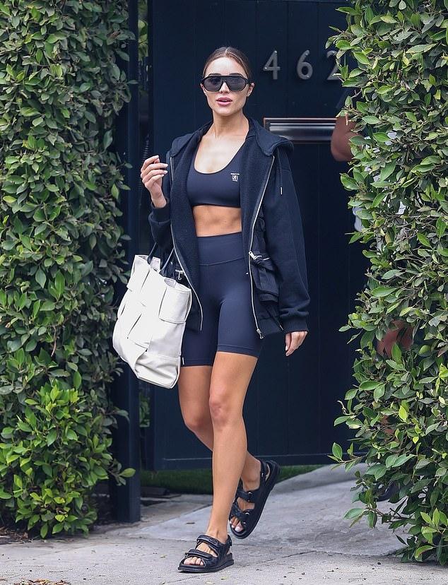 Olivia Culpo wearing round black open toe sandals