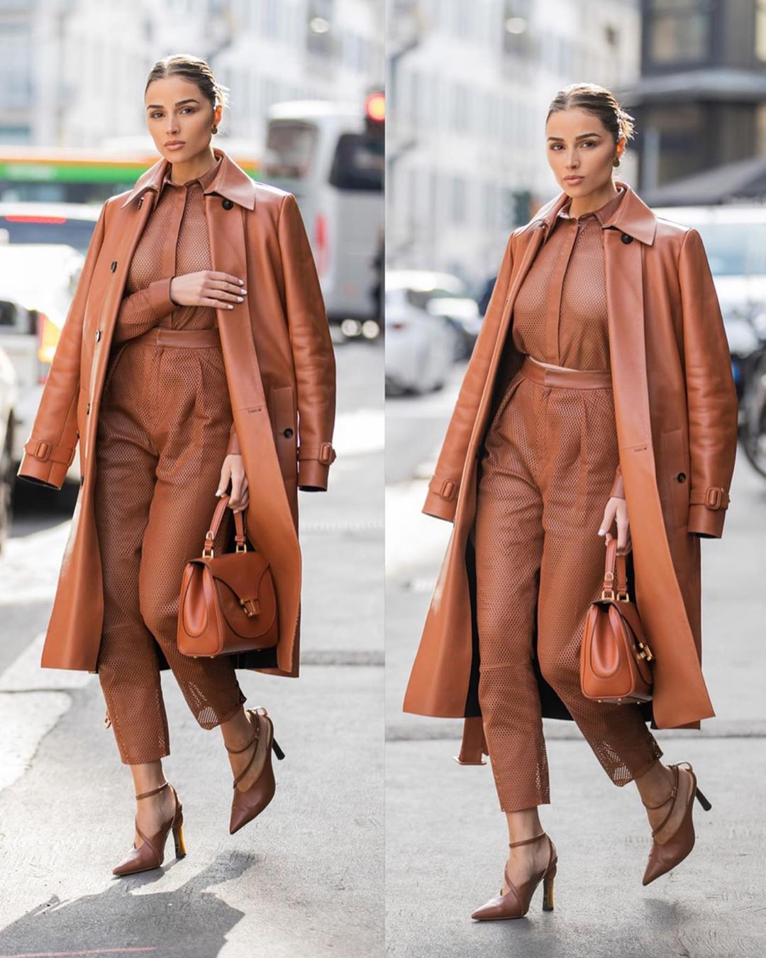 Olivia Culpo wearing narrow fit tan leather cropped hem ankle length pants