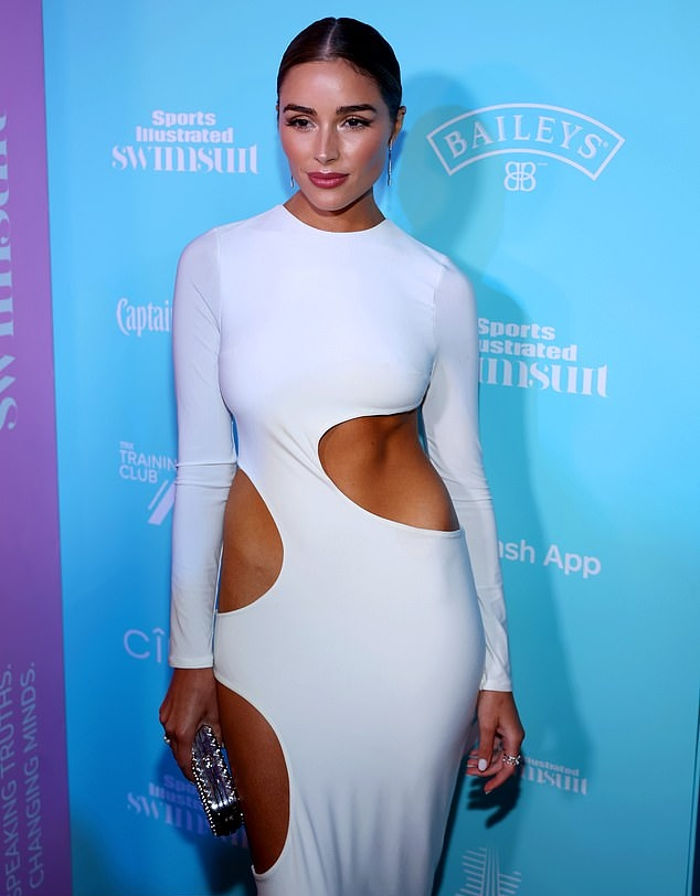 Olivia Culpo wearing round white open toe sandals with high heel