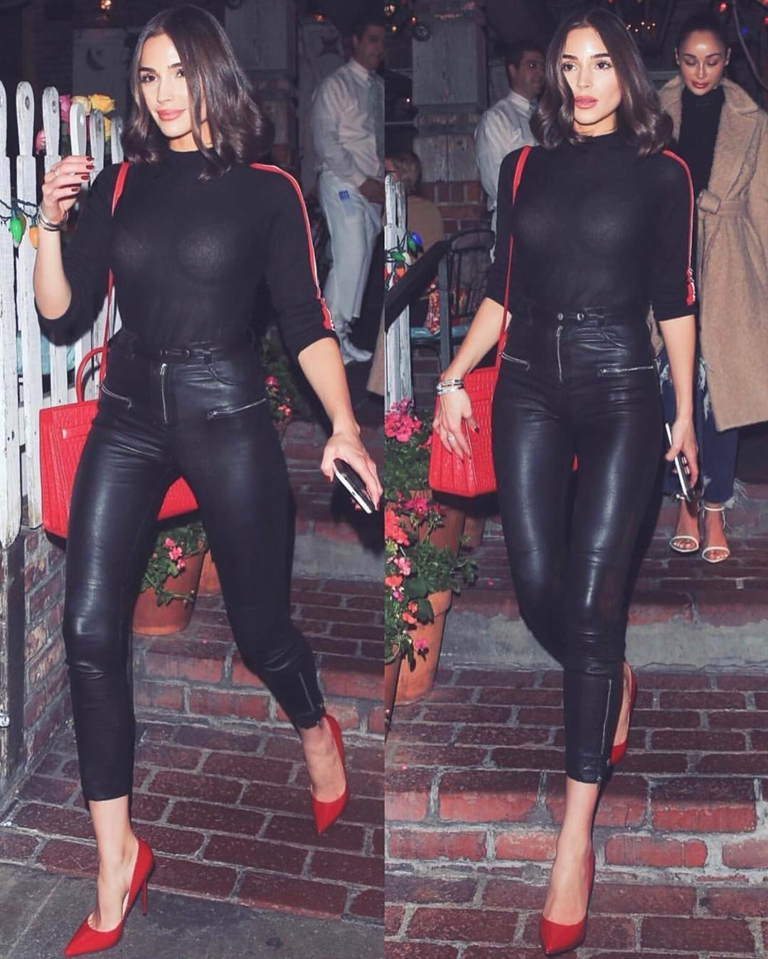Olivia Culpo wearing cropped black leather ankle length jeans