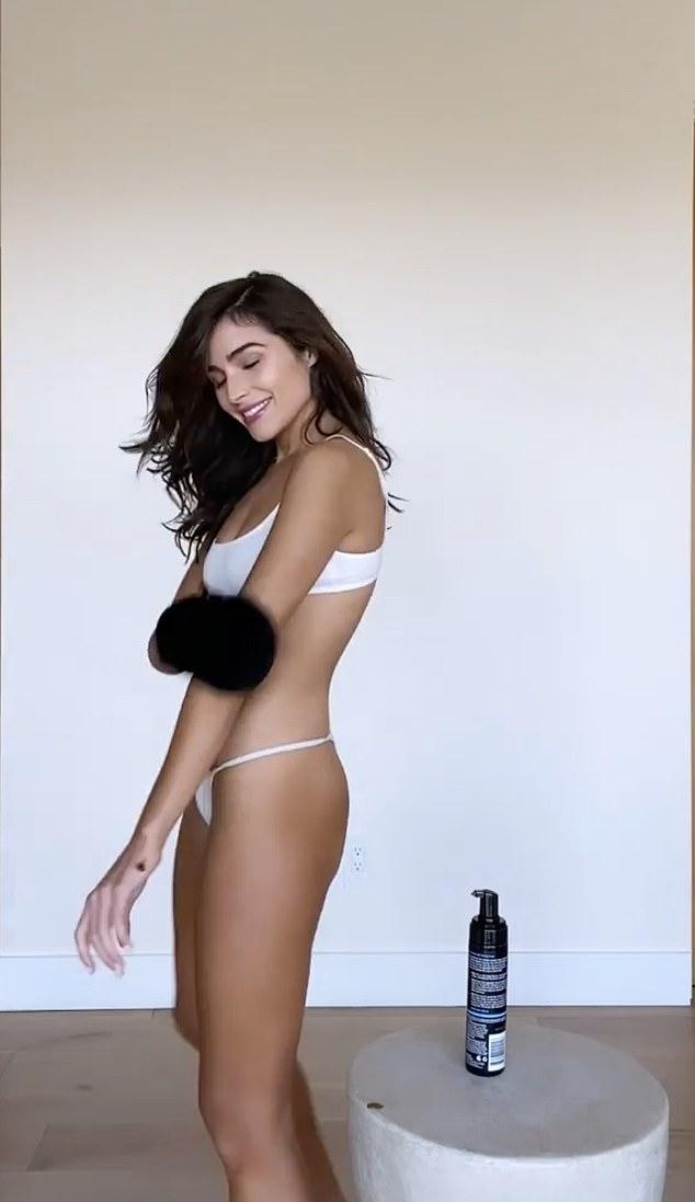 Olivia Culpo dazzled in white thong