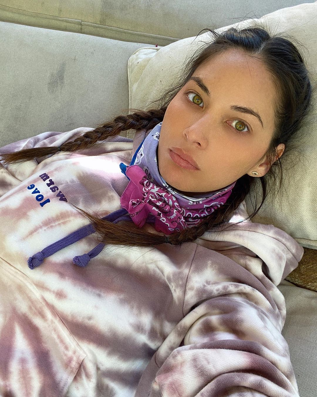 Olivia Munn donning a Oversized white tie dye hoodie