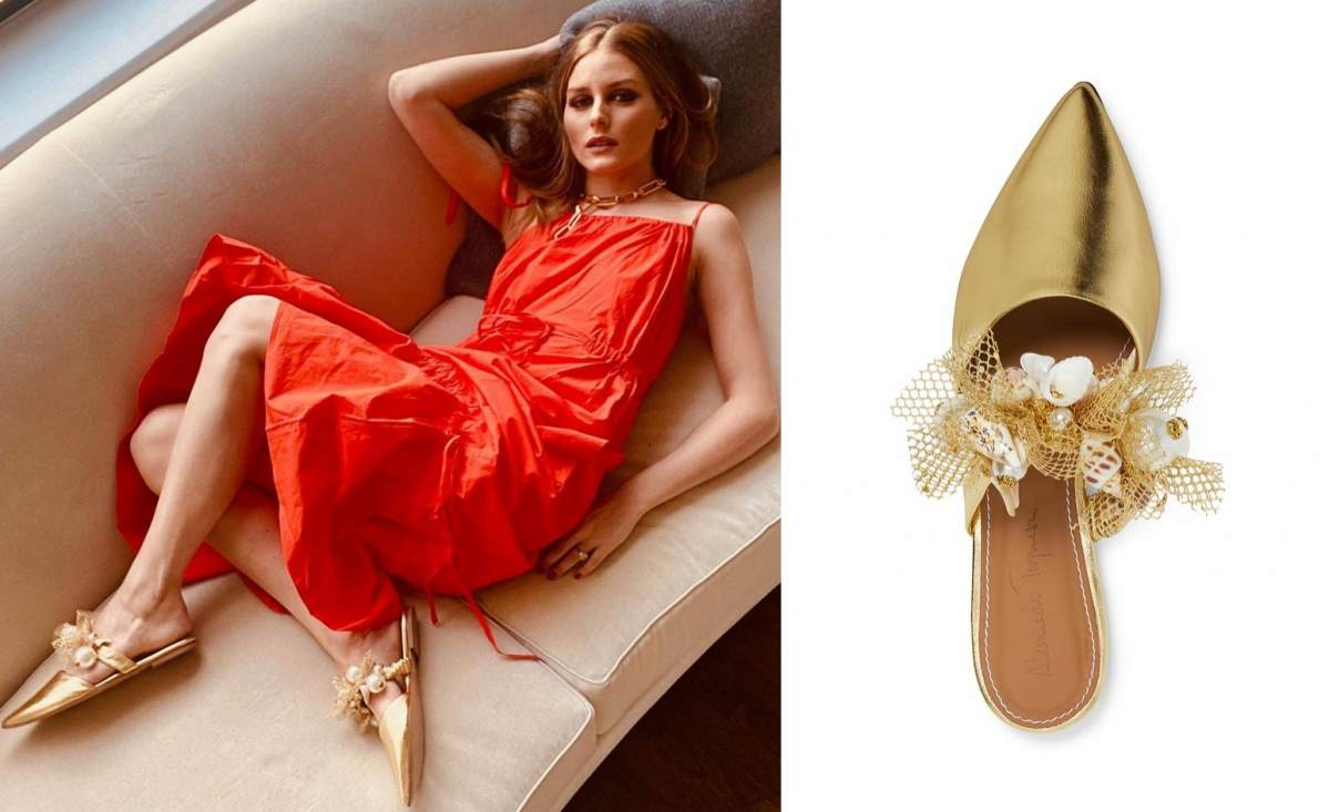 Olivia Palermo wearing pointy gold leather mules by Olivia Palermo with flat heel