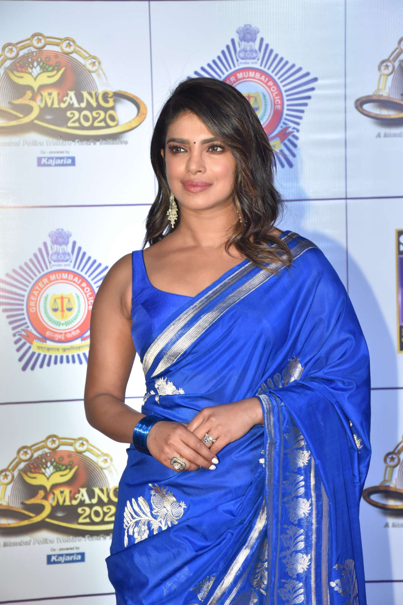 Priyanka Chopra wearing a Royal blue silk dress with a silk material and pleated