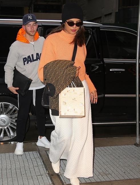 Priyanka Chopra donning white quilted palazzo with flared hem