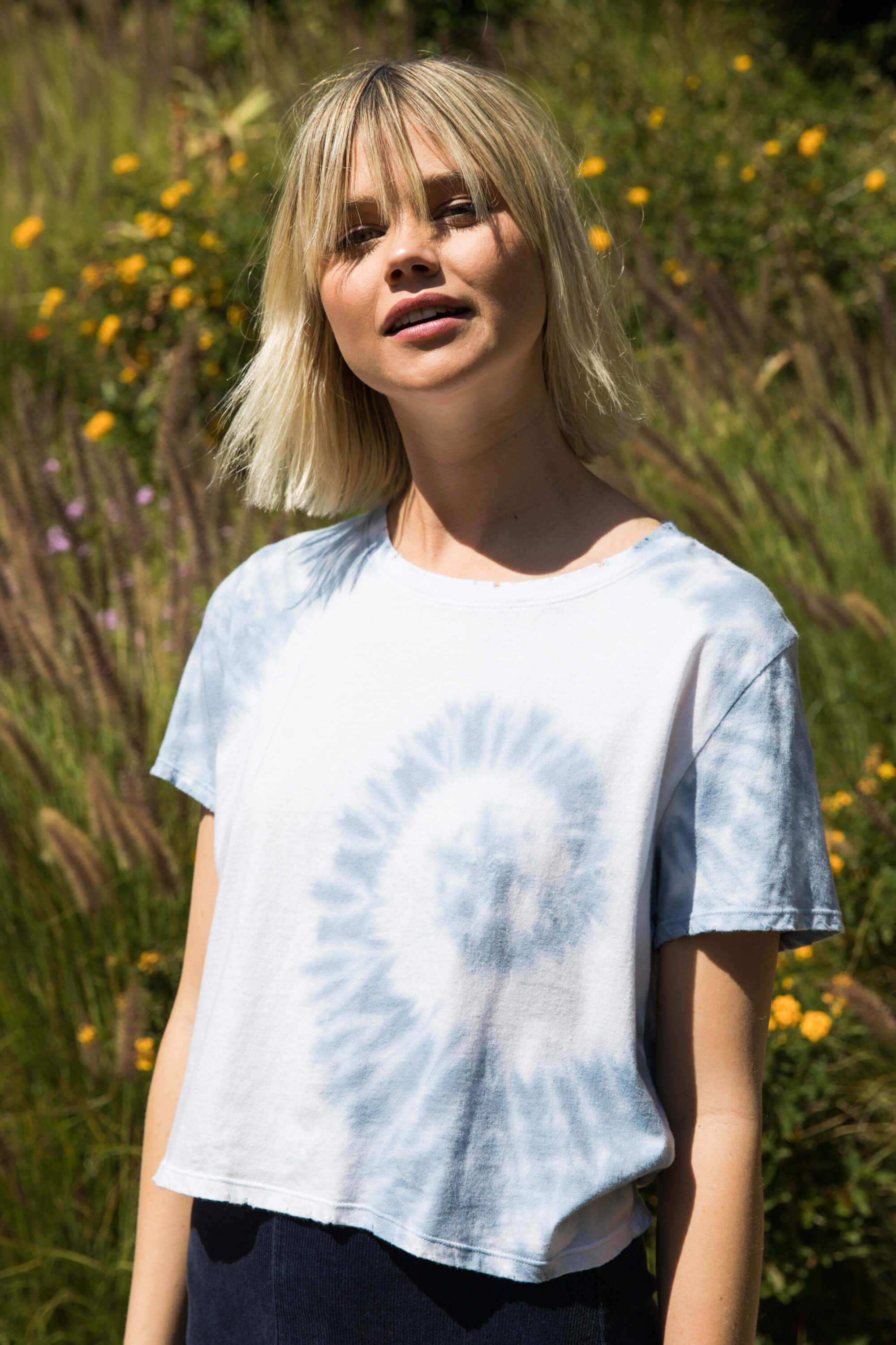 CLOUD TIE DYE DYLAN TEE by sub_urban rio, available on suburbanriot.com for $24 Alessandra Ambrosio Top Exact Product