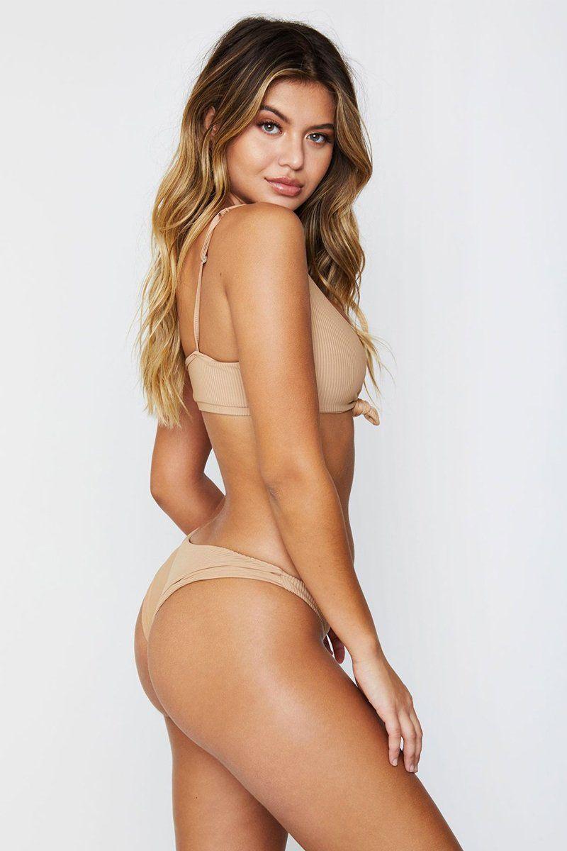 GREER RIBBED FRONT KNOT BIKINI TOP - NUDE by Frankies Bikinis, available on bikini.com for $89 Alessandra Ambrosio Top Exact Product
