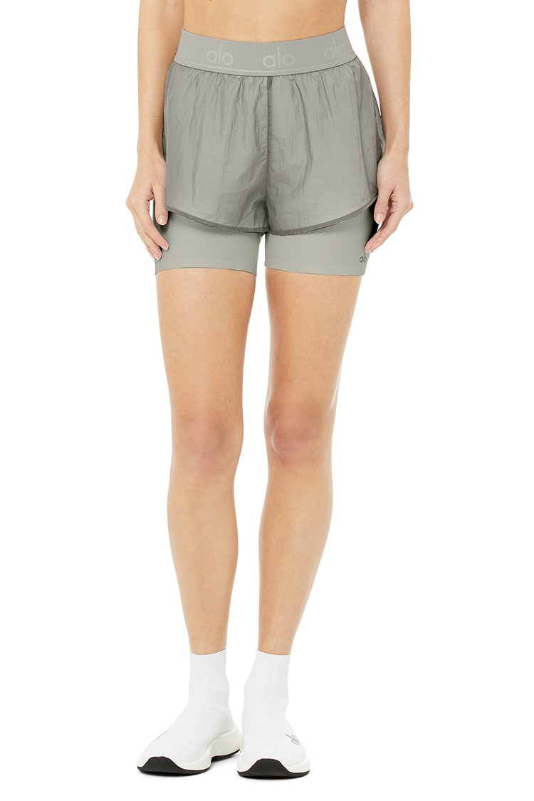 HIGH-WAIST CATCH THE LIGHT SHORT by Alo, available on aloyoga.com for $72 Alessandra Ambrosio Shorts Exact Product