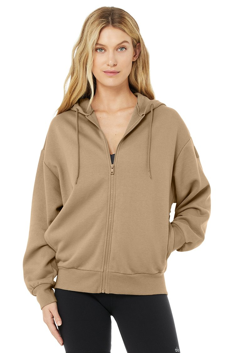 HYPE FULL ZIP HOODIE by Alo, available on aloyoga.com for $98 Alessandra Ambrosio Outerwear Exact Product