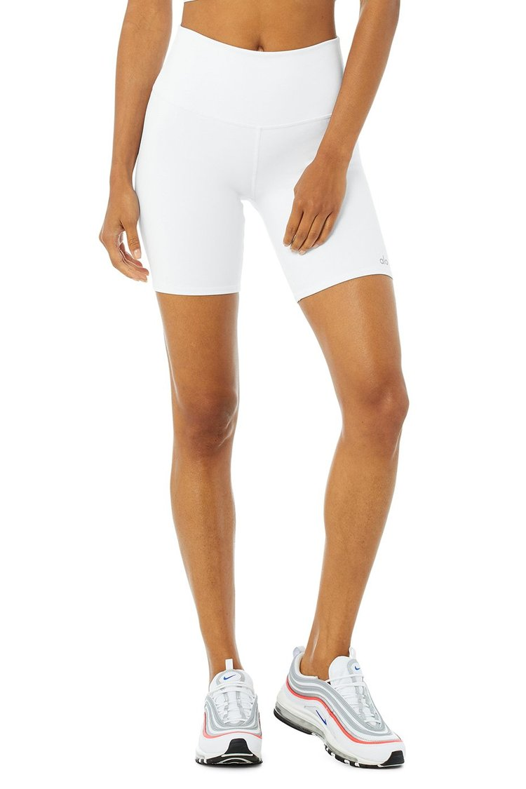 High-Waist Biker Short - White by Alo Yoga, available on aloyoga.com for $56 Alessandra Ambrosio Shorts Exact Product