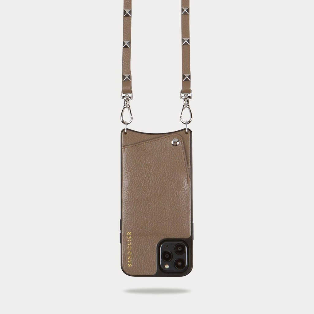 Pebble Leather Crossbody Bandolier in Dark Taupe/Silver by Sarah Flint, available on bandolierstyle.com for $105 Alessandra Ambrosio Bags Exact Product