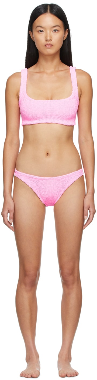 Pink Xandra Bikini by HUNZA G, available on ssense.com for $190 Alessandra Ambrosio Top Exact Product