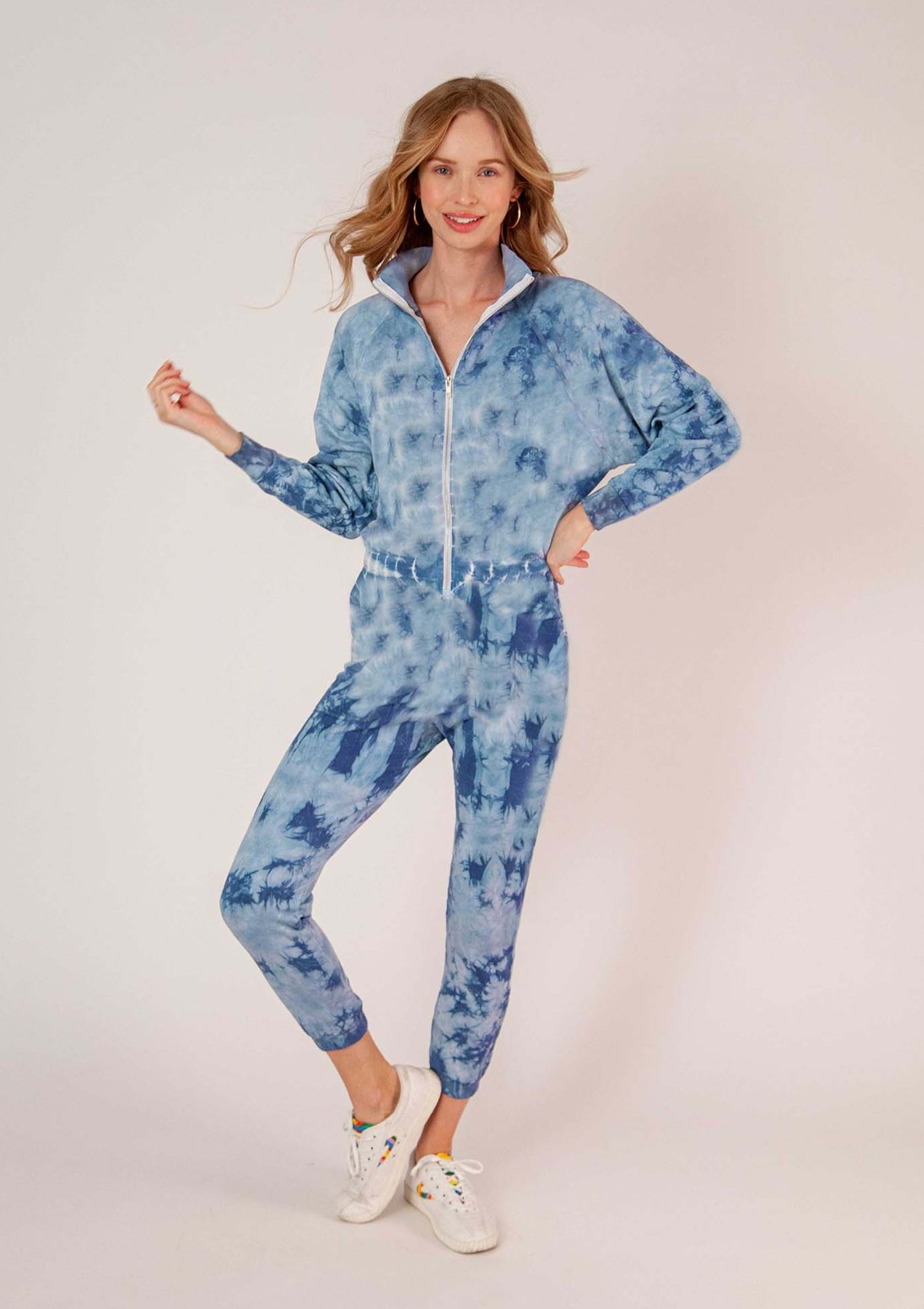 RESTORE SOFT TERRY JUMPSUIT - DUSTY BLUE TIE DYE by Lezat, available on shoplezat.com for $110 Alessandra Ambrosio Dress Exact Product