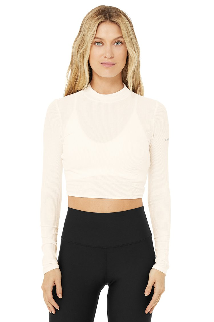 RIBBED CROP PREMIER LONG SLEEVE by Alo, available on aloyoga.com for $68 Alessandra Ambrosio Top Exact Product