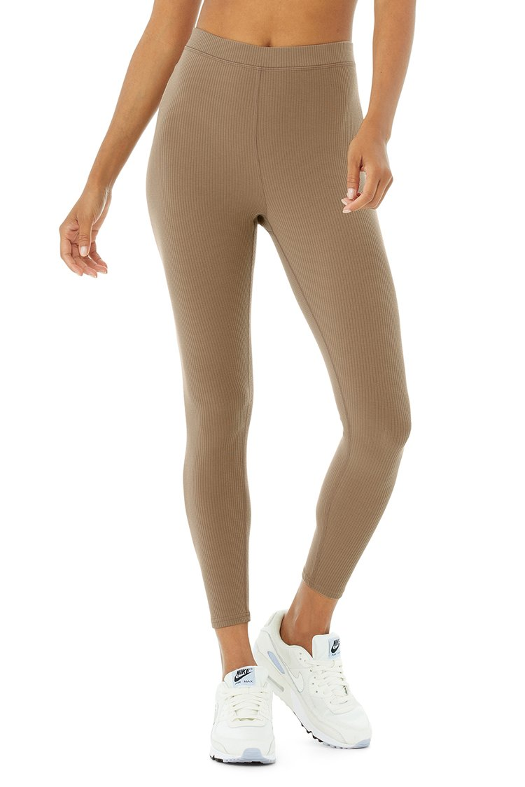 RIBBED HIGH-WAIST 7/8 BLISSFUL LEGGING by Alo Yoga, available on aloyoga.com for $88 Alessandra Ambrosio Pants Exact Product