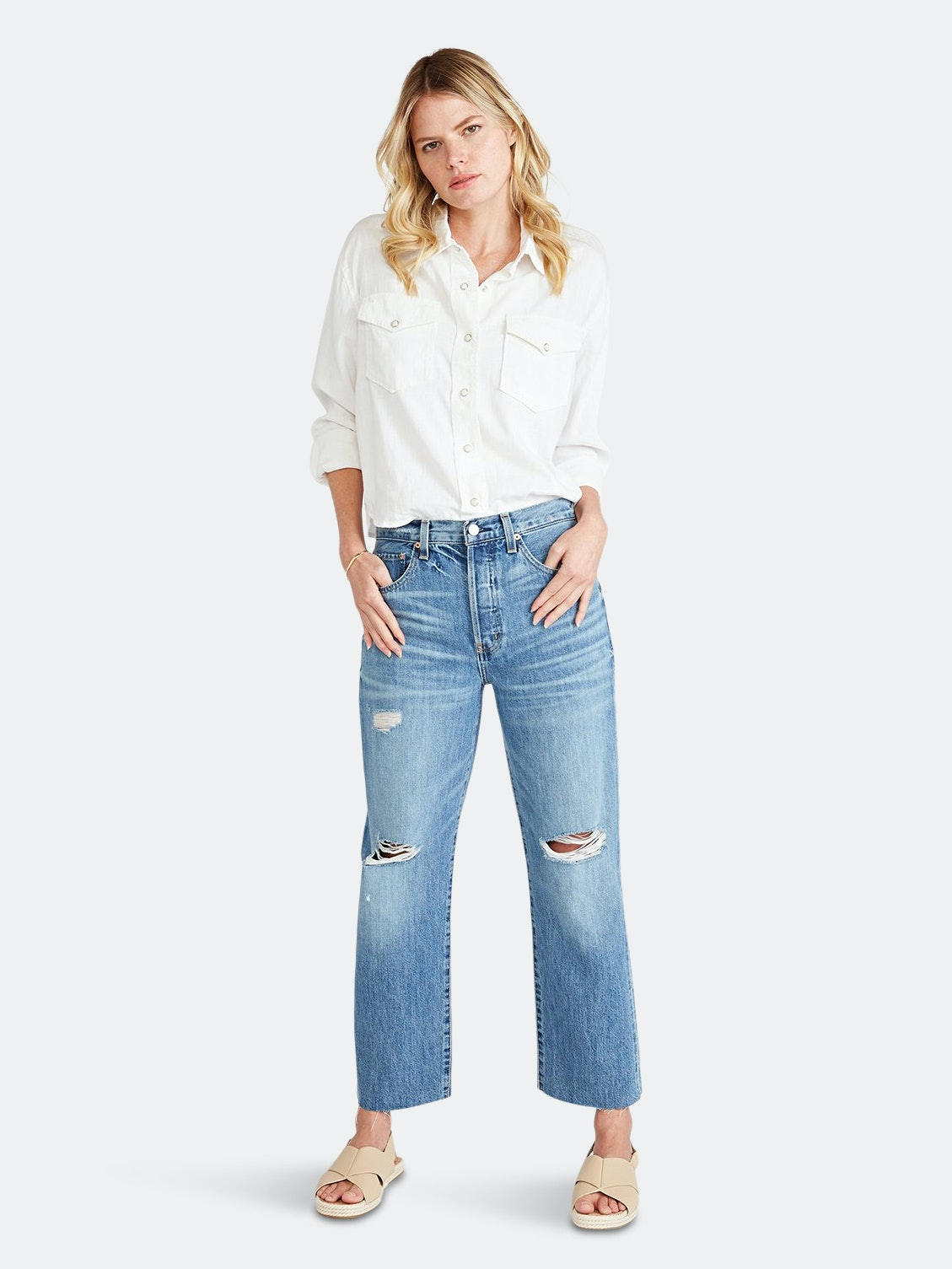 Tyler High Rise Ankle Straight - Fleetwood by ÉTICA DENIM, available on verishop.com for $158 Alessandra Ambrosio Pants Exact Product