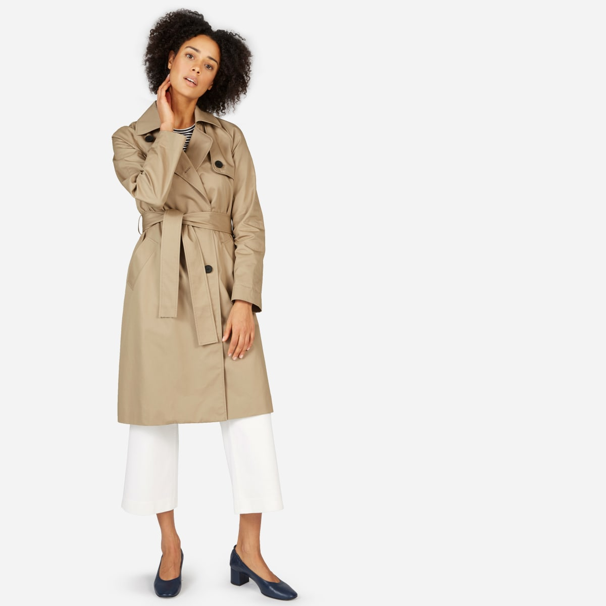 Drape Trench Coat by Everlane, available on everlane.com for $148 Angelina Jolie Outerwear Exact Product