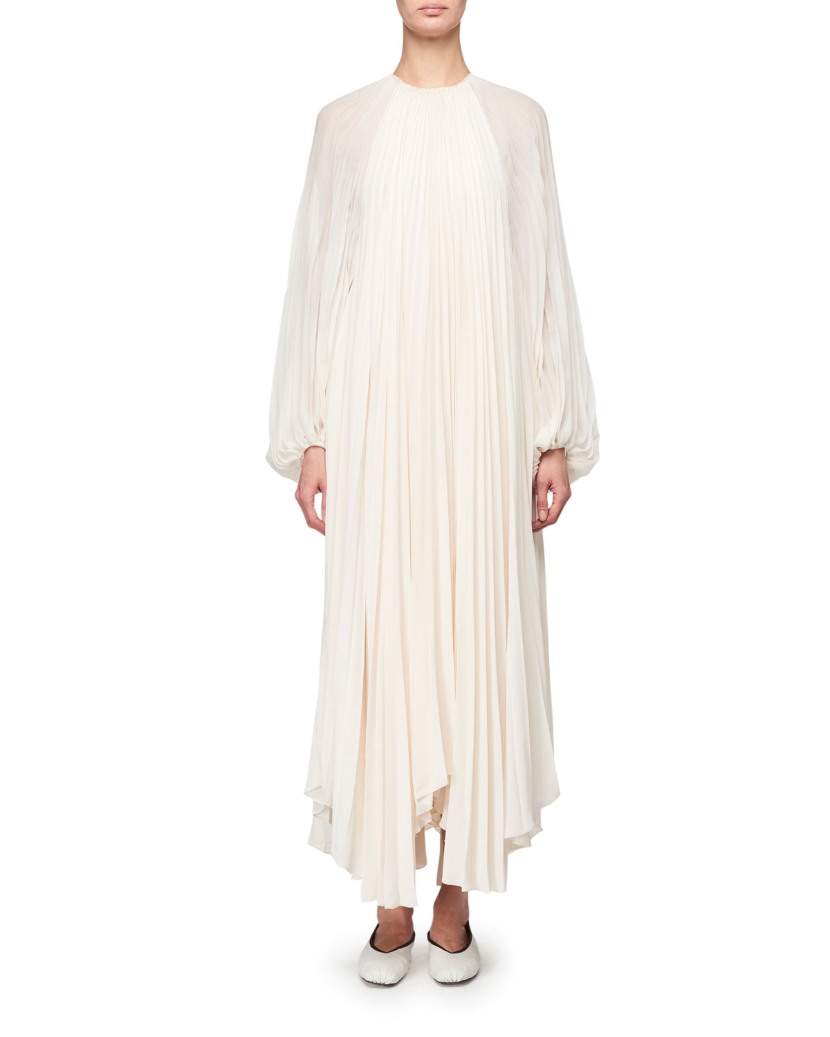 Martina Knife Pleated Full-Sleeve Dress by The Row, available on neimanmarcus.com for $6150 Angelina Jolie Dress Exact Product