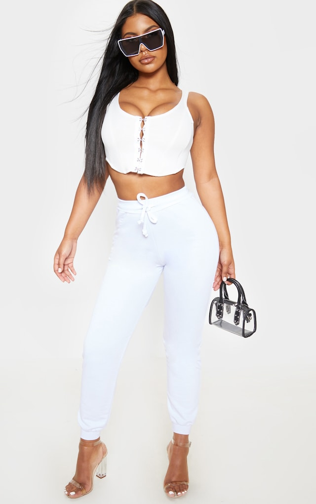 White Ultimate Jogger by Pretty Little Thing, available on prettylittlething.com for £12 Ariana Grande Pants SIMILAR PRODUCT