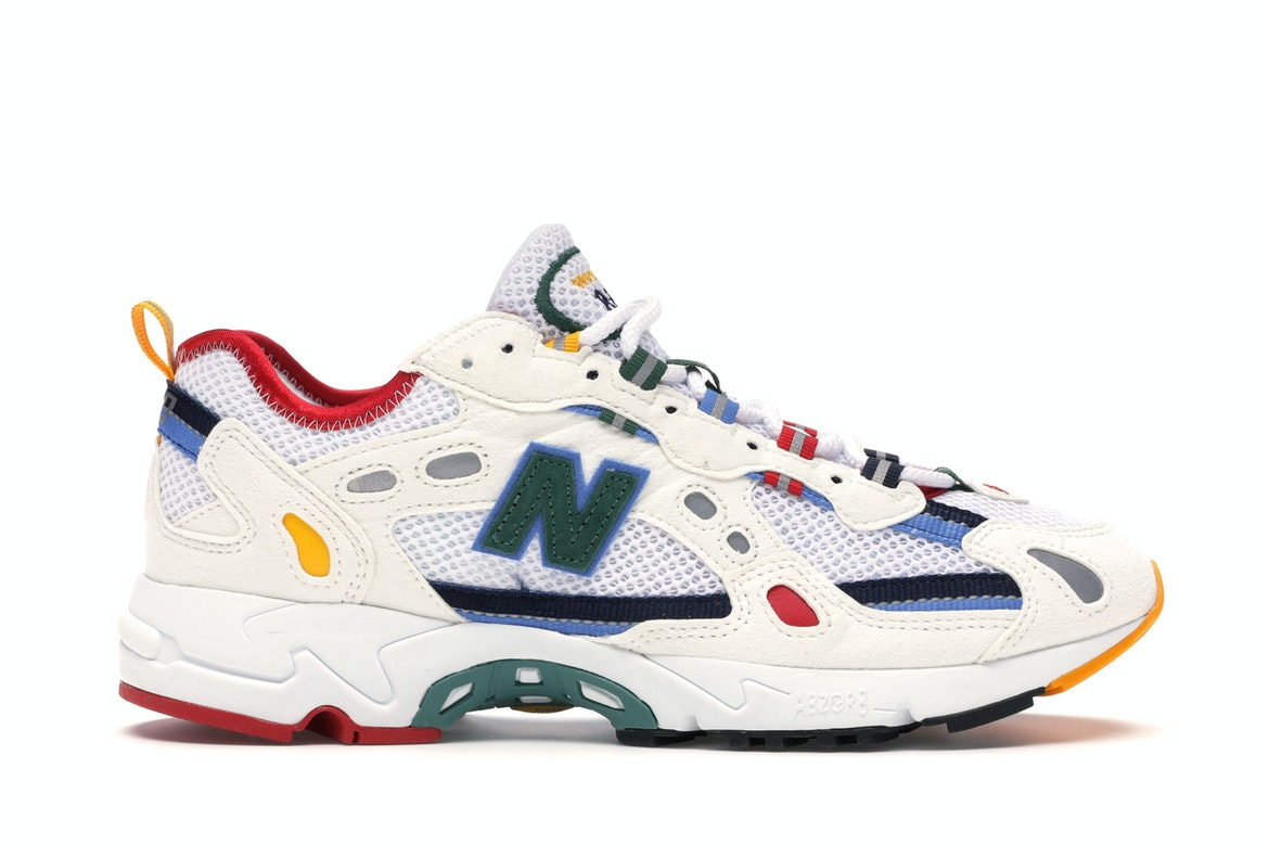 827 Abzorb Aime Leon Dore White Multi by New Balance, available on stockx.com for $286 Bella Hadid Shoes Exact Product