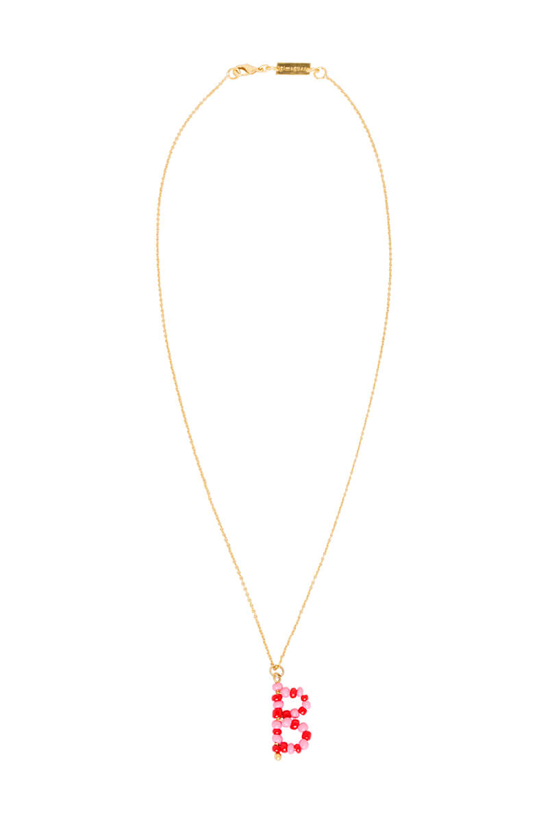 ALPHABET PINK NECKLACE by Gimaguas, available on gimaguas.com for EUR35 Bella Hadid Jewellery Exact Product