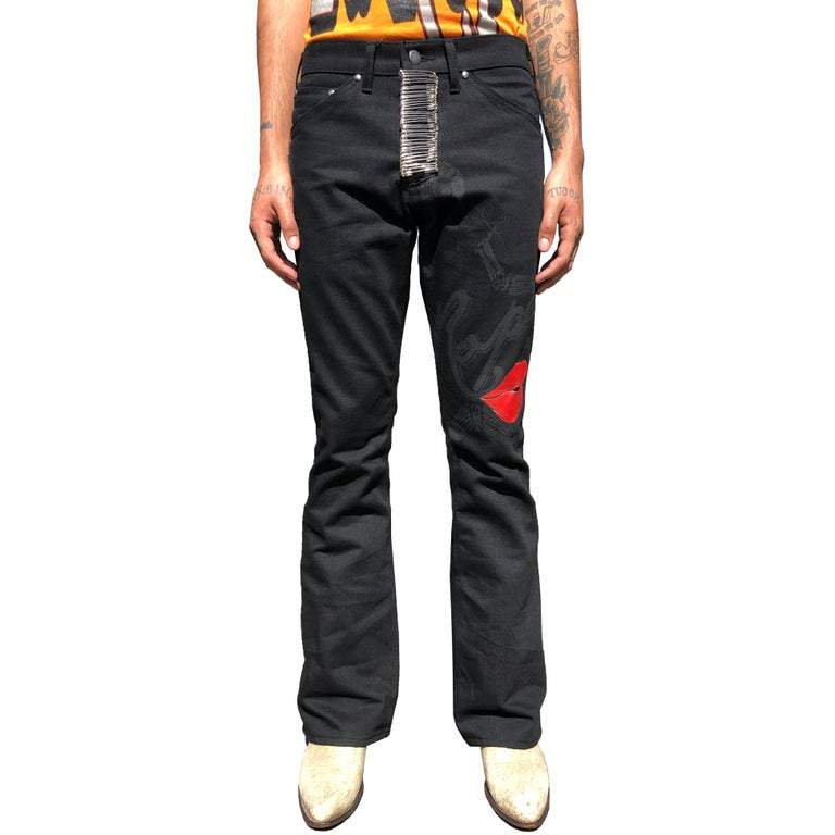BLACK HEAVYMETAL DENIM JEANS by La Ropa, available on laropa.life for $500 Bella Hadid Pants Exact Product