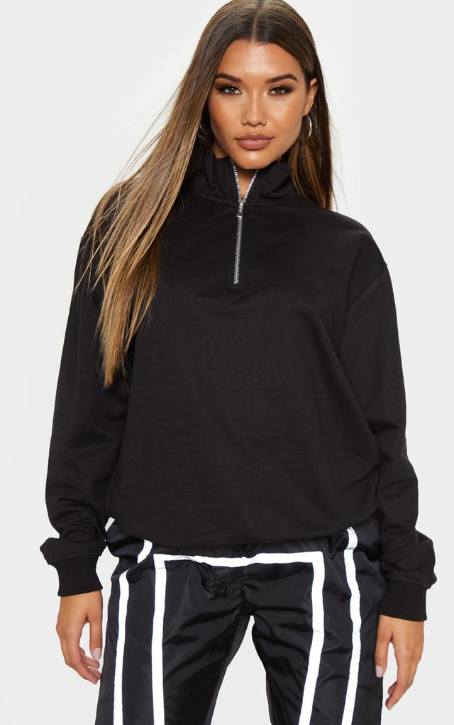 Black Zip Front Oversized Sweater by Pretty Little Thing, available on prettylittlething.com for $18 Bella Hadid Outerwear SIMILAR PRODUCT