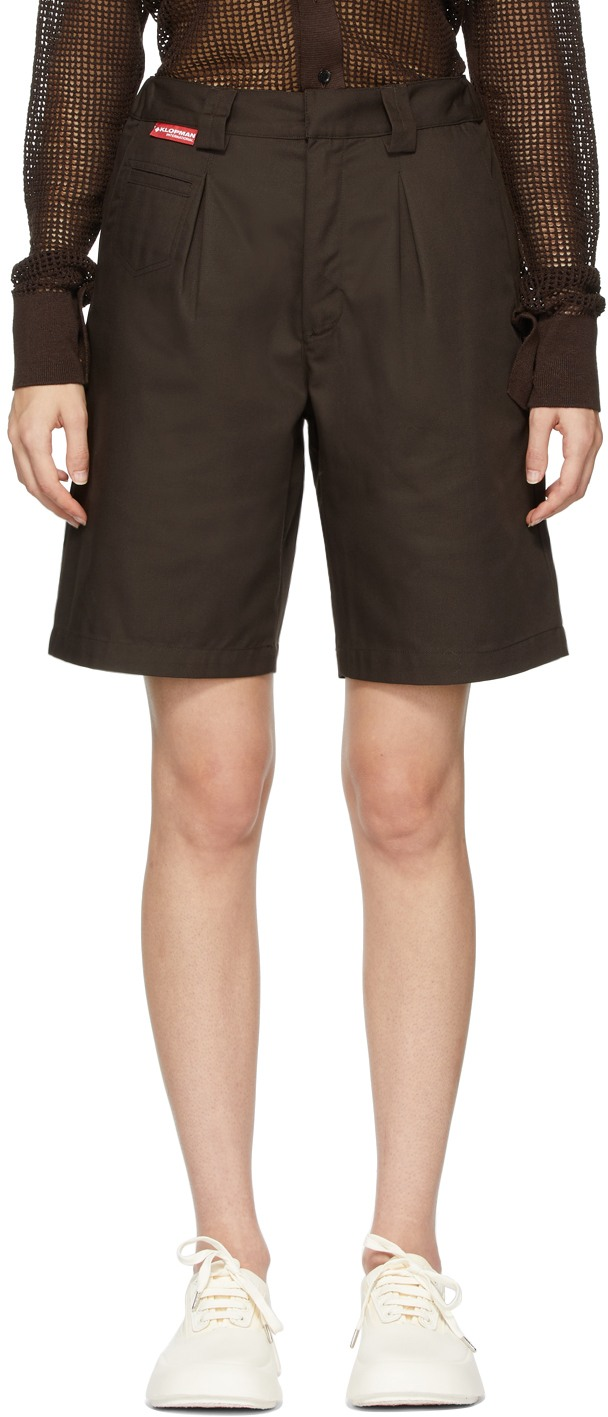 Brown TLRD Richter SN Shorts by GR10K, available on ssense.com for $168 Bella Hadid Shorts Exact Product
