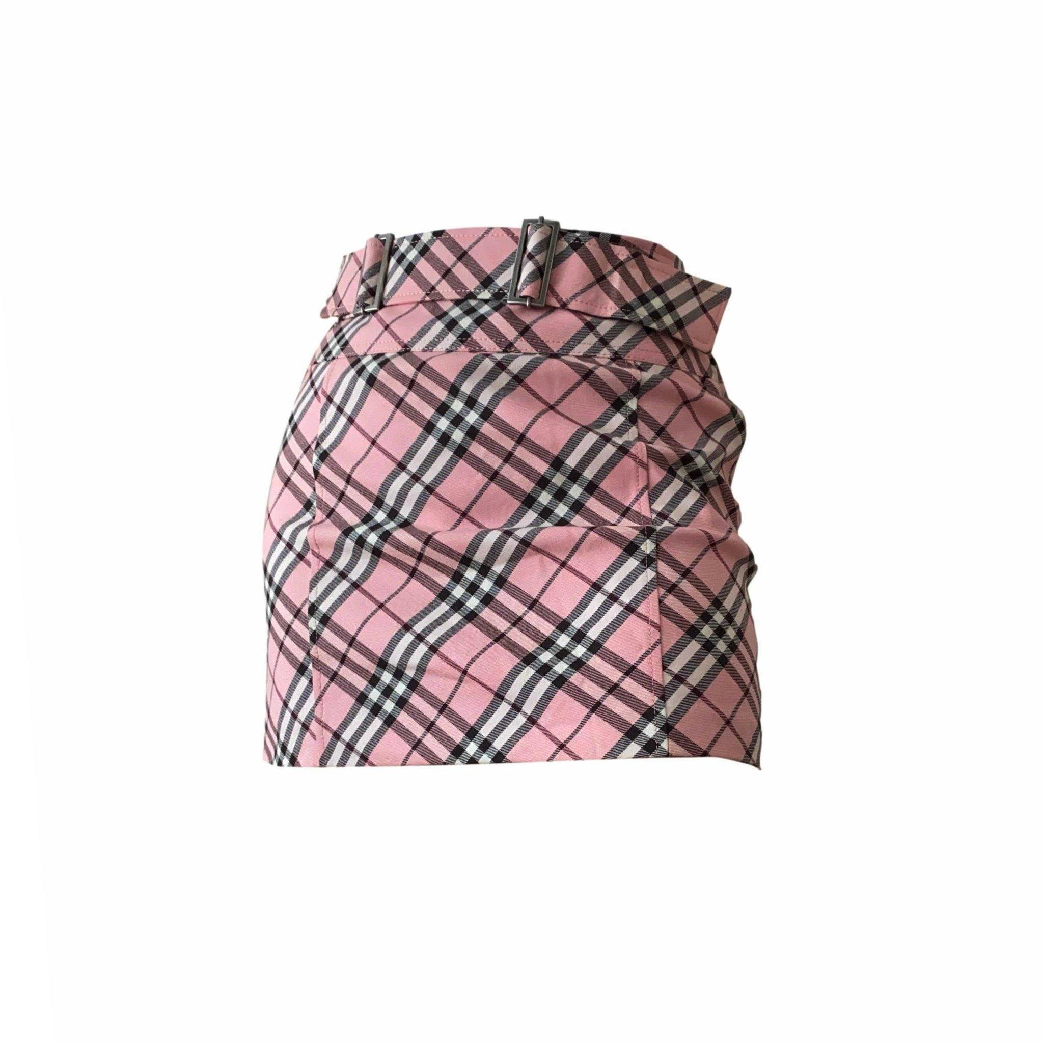Classic Pink Plaid Skirt by Burberry, available on treasuresofnewyorkcity.com for $310 Bella Hadid Skirt Exact Product