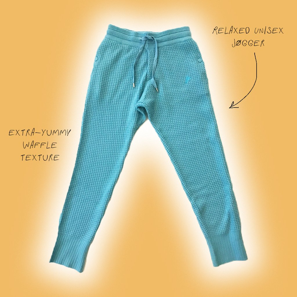 CASHMERE WAFFLE PANTS Color - Pool Blue by Fall Risk, available on fallriskinc.com for $395 Bella Hadid Pants SIMILAR PRODUCT