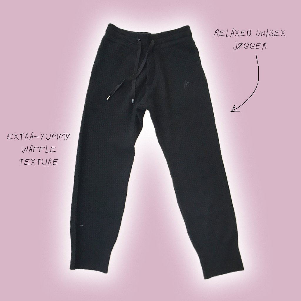 CASHMERE WAFFLE PANTS Midnight Black by Fall Risk, available on fallriskinc.com for $395 Bella Hadid Outerwear SIMILAR PRODUCT