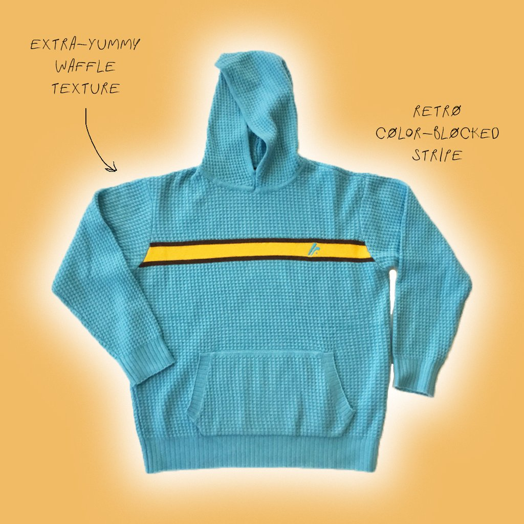 Cashmere Waffle Blue Hoodie by Fall Risk, available on fallriskinc.com for $395 Bella Hadid Outerwear Exact Product