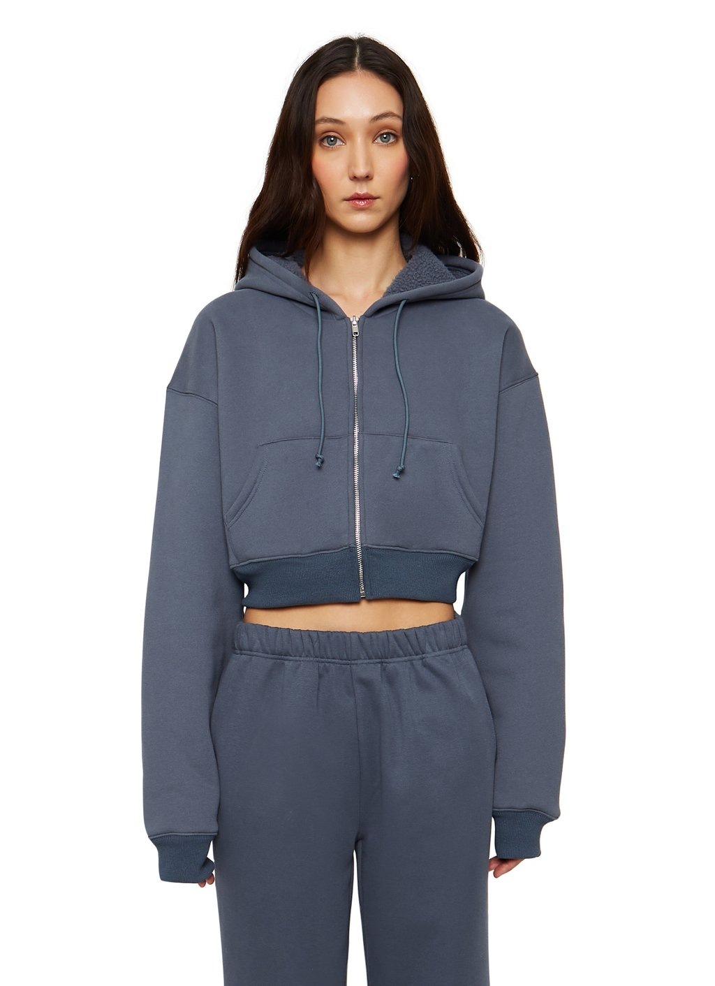 Cropped Zip-up Hoodie by Danielle Guizio, available on danielleguiziony.com for $178 Bella Hadid Top Exact Product