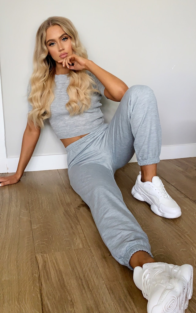 Grey Marl Basic Slim Fit Joggers by Pretty Little Thing, available on prettylittlething.com for $14 Bella Hadid Pants SIMILAR PRODUCT