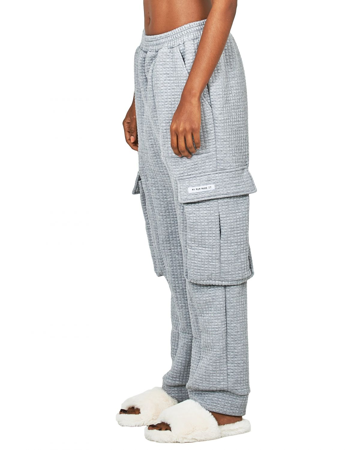 Grey Quilted Pocket Sweatpants by My Mum Made It, available on mymum-madeit.com for $89 Bella Hadid Pants Exact Product