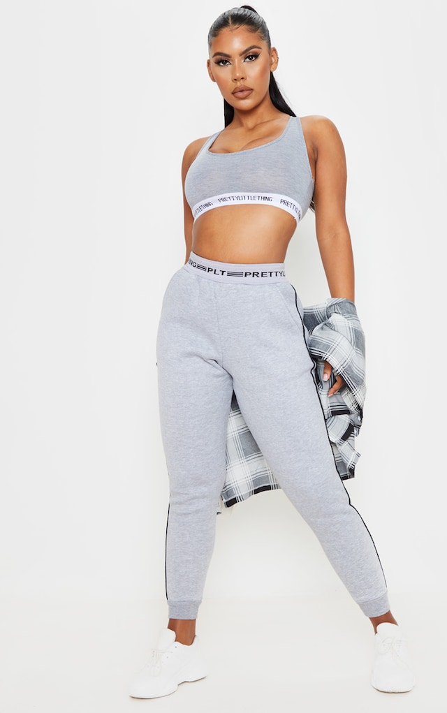 PRETTYLITTLETHING Grey Contrast Piping Cuff... by Pretty Little Thing, available on prettylittlething.com for $20 Bella Hadid Pants SIMILAR PRODUCT