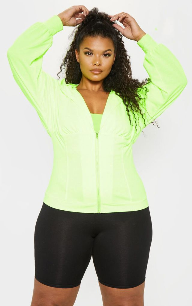 Plus Neon Lime Ruched Zip Hoodie by Pretty Little Thing, available on prettylittlething.com for $25 Bella Hadid Outerwear SIMILAR PRODUCT