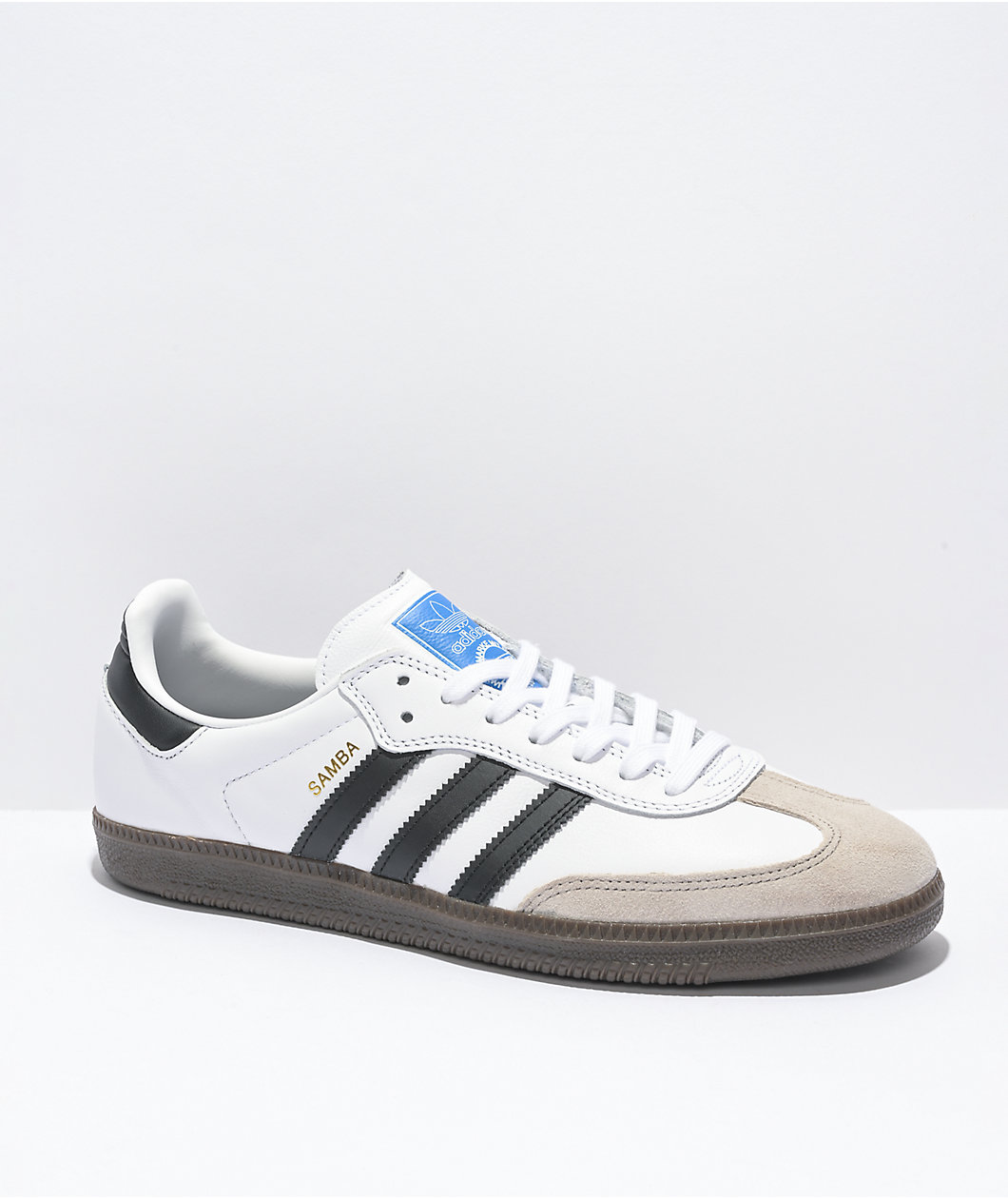 Samba White, Black & Gum Shoes by adidas, available on zumiez.com for $79.95 Bella Hadid Shoes Exact Product