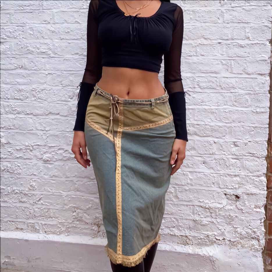 Vintage patchwork denim skirt by Susamusa, available on susamusa.com for EUR55 Bella Hadid Skirt Exact Product