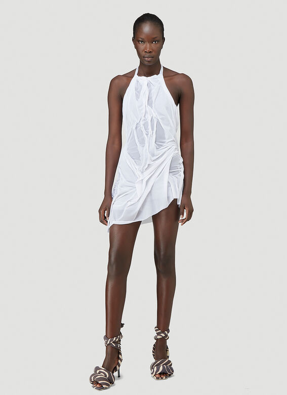 Wet-Look Halterneck Mini Dress in White by DI PETSA, available on ln-cc.com for $2840 Bella Hadid Dress Exact Product