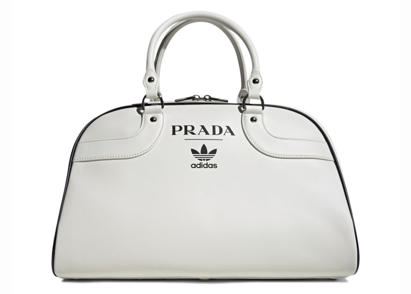 x Adidas Bowling Bag (Without Shoes) White by Prada, available on stockx.com for $1500 Bella Hadid Bags Exact Product