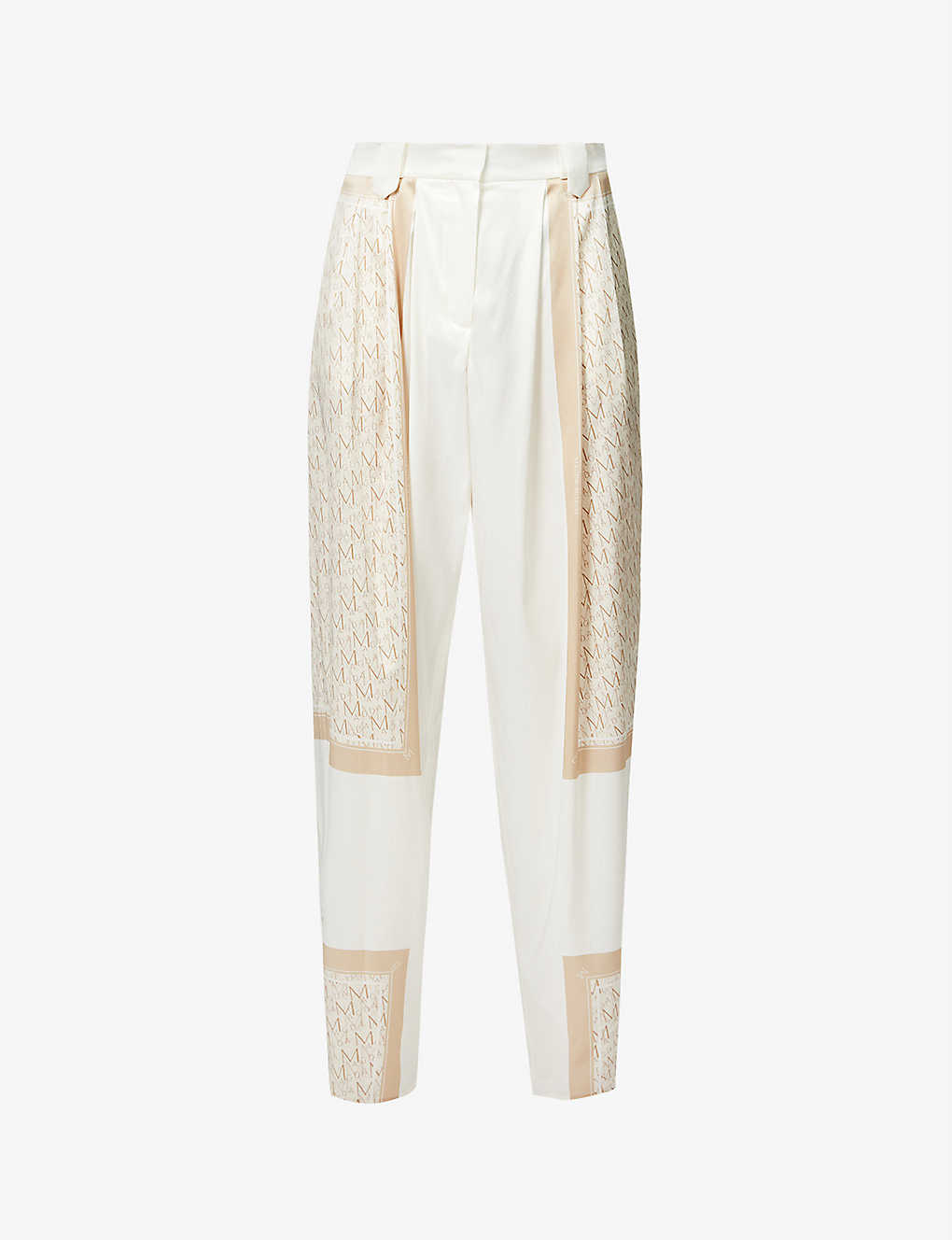 Branded-print wide-leg high-rise stretch-silk trousers by MAGDA BUTRYM, available on selfridges.com for $830 Candice Swanepoel Pants Exact Product