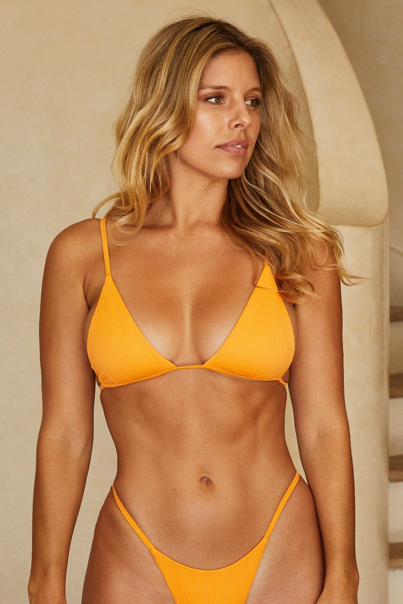 Barbados Top - Tangerine Rib by Monday Swimwear, available on mondayswimwear.com for $84 Devin Brugman Top Exact Product