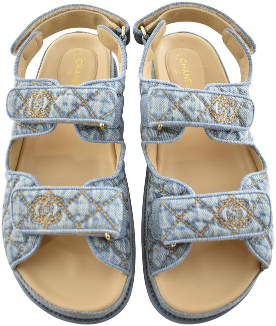 Blue Light Denim Gold Quilted Cc Logo Mule Slide Strap Flat Dad Sandals by Chanel, available on tradesy.com for $2255.83 Elsa Hosk Shoes Exact Product