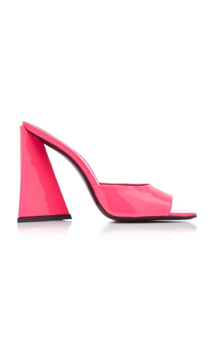 Devon Patent Leather Mules by The Attico, available on modaoperandi.com for $655 Elsa Hosk Shoes Exact Product