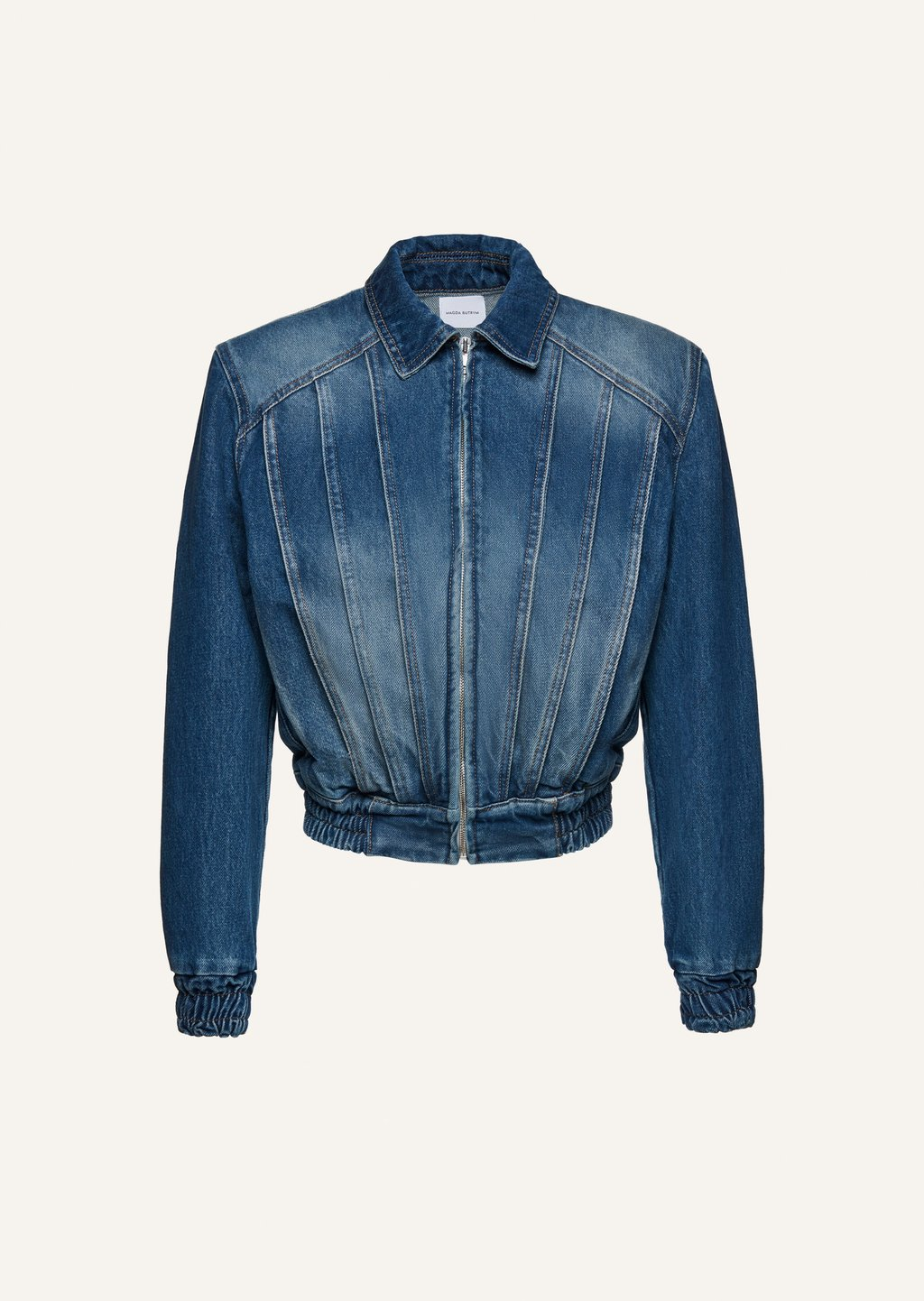 Faded denim bomber jacket in blue by Magda Butrym, available on magdabutrym.com for $775 Elsa Hosk Outerwear Exact Product
