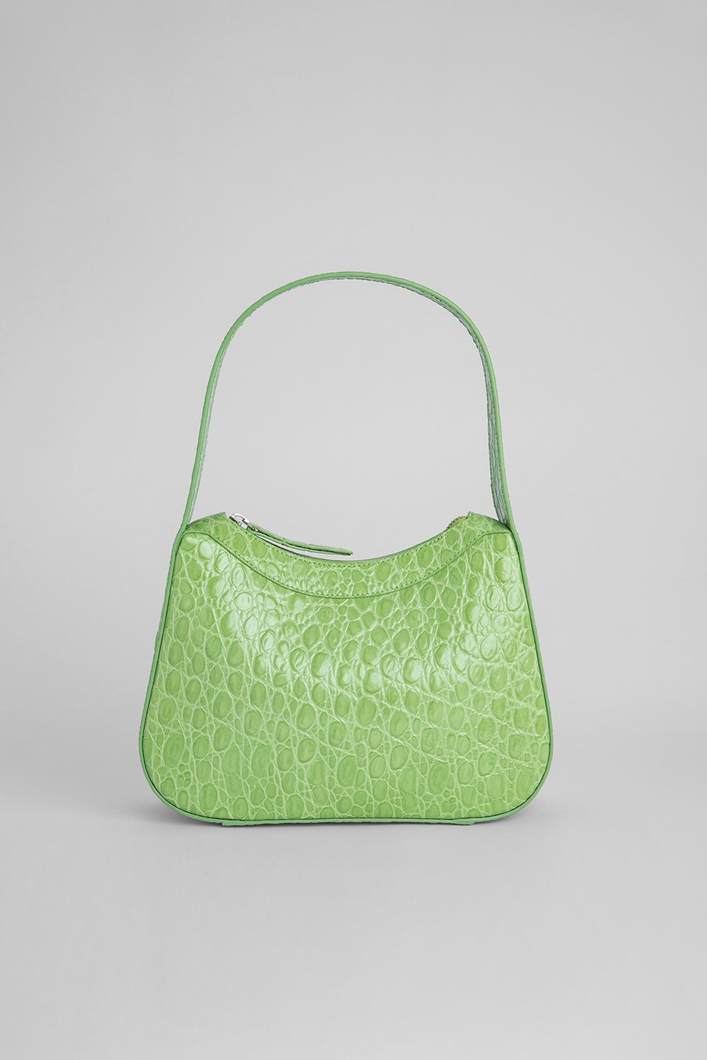 KIKI PISTACHIO CIRCULAR CROCO EMBOSSED LEATHER by BY FAR, available on byfar.com for $670 Elsa Hosk Bags Exact Product