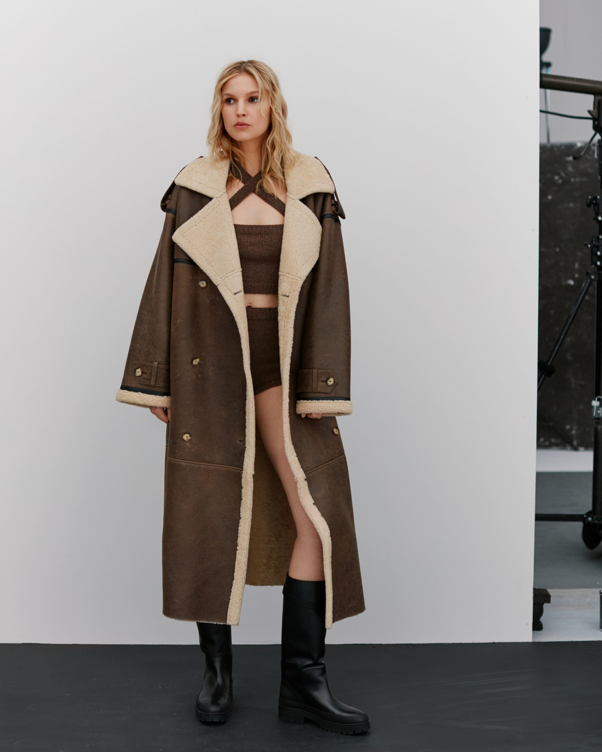 Long shearling coat in brown by JORDAN, available on themannei.com for $4.25 Elsa Hosk Outerwear Exact Product