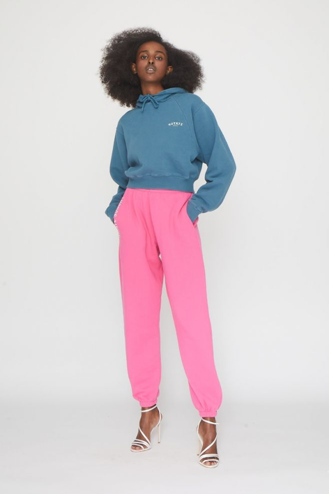 Mimi Sweat Pants Rose by Rotate, available on rotatebirgerchristensen.com for $124.96 Elsa Hosk Pants Exact Product