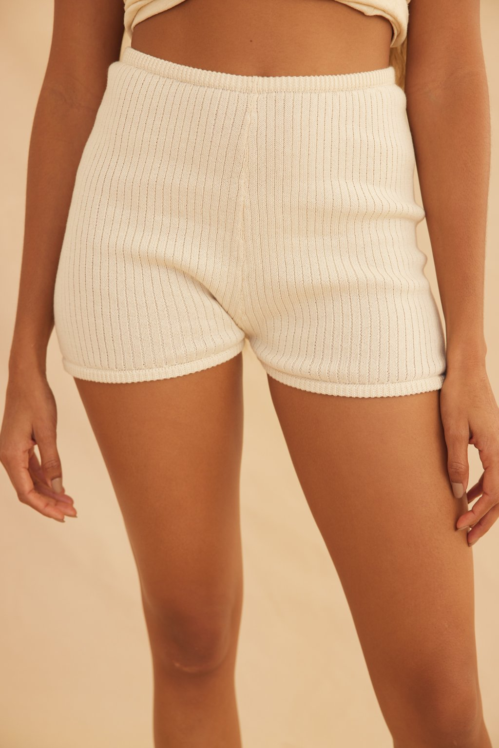 Organic Knit Ribbed Short - Cream by Savannah Morrow, available on savannahmorrow.com for $139 Elsa Hosk Shorts Exact Product